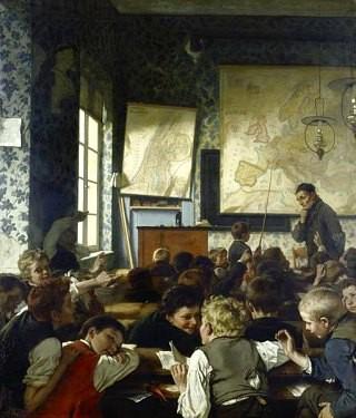 Carl Hertel - Classe pendant une leçon de géographie - 1874.jpg